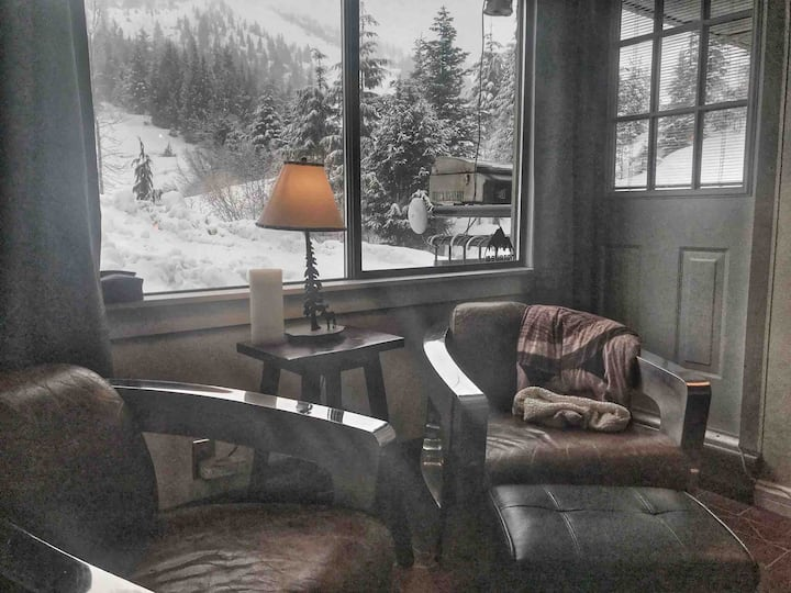 Wood burning fireplace, overlooking the ski hill