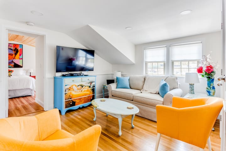 """The """"Flaming June"""" (named for the painting) family lounge, has a large screen Smart TV, the Alexa/Sonos system, an iPad tablet, and the sofa is a full size sofa bed."""