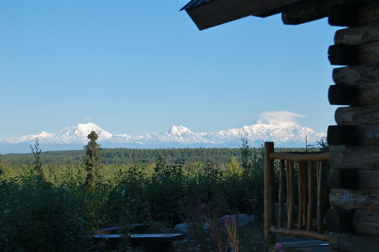 Alaska Range with Denali. View from your cabin.