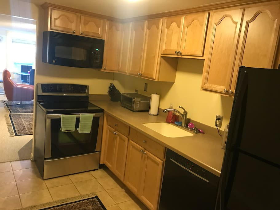 Updated and very clean kitchen with basic cooking supplies.