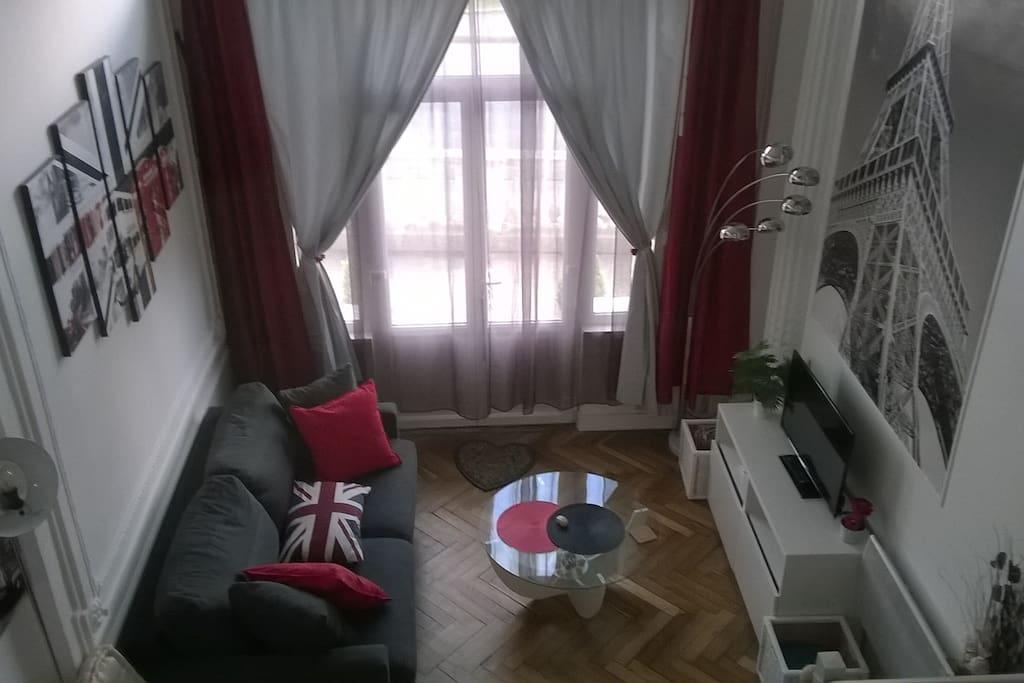 Pièce principale avec canapé lit