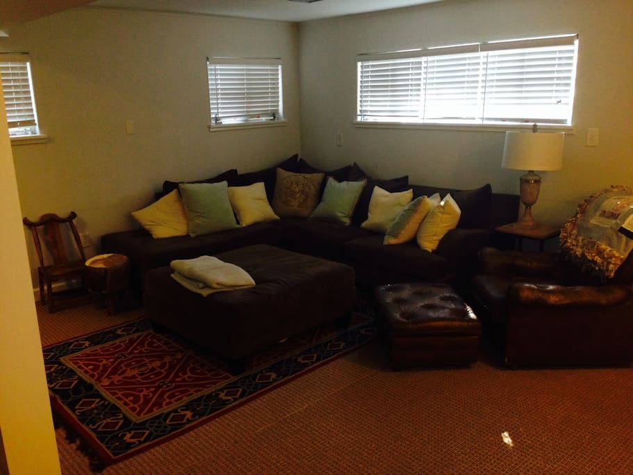 Sectional couch w/ ottoman and leather chair