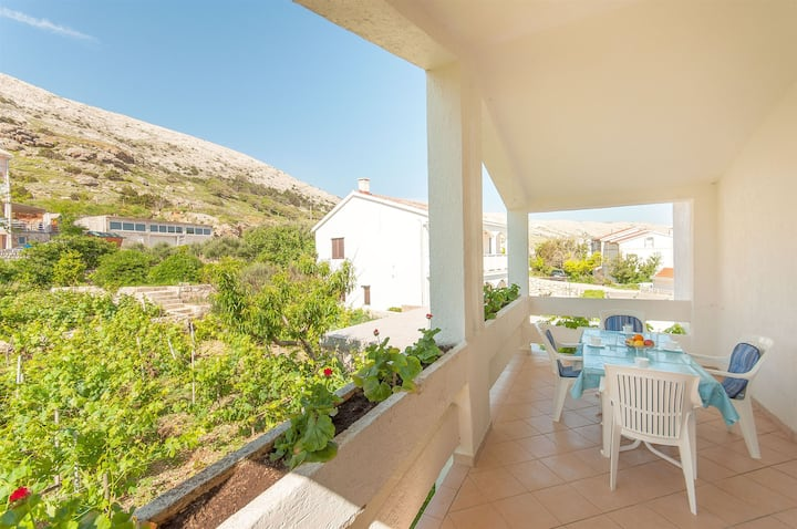 Two Bedroom Apartment, seaside in Pag - island Pag, Terrace