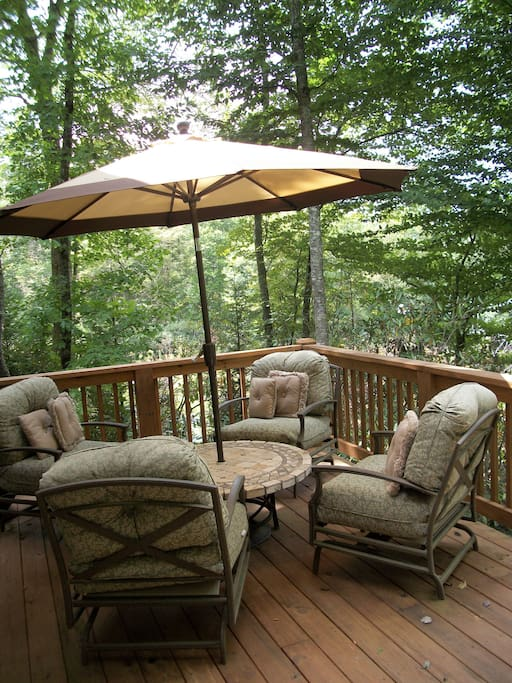 View from the back deck in the summer with tree shade