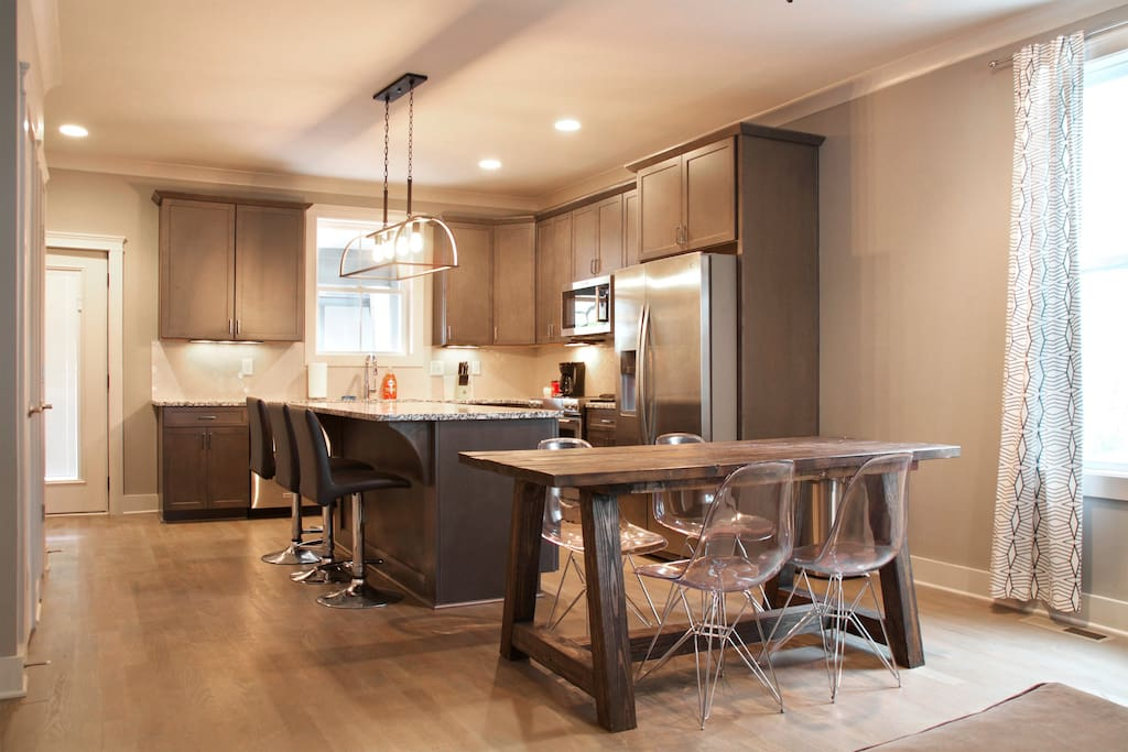 Spacious downstairs with updated modern decor and combined living space