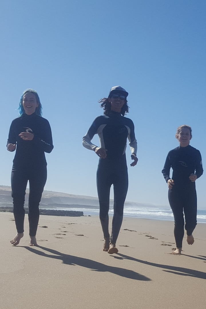 Warm up before ride waves