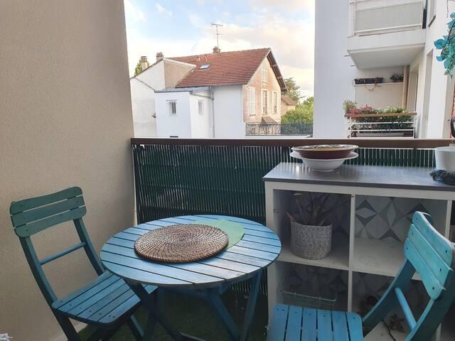 Appartement cosy à Ermont (T2) balcon côté jardin