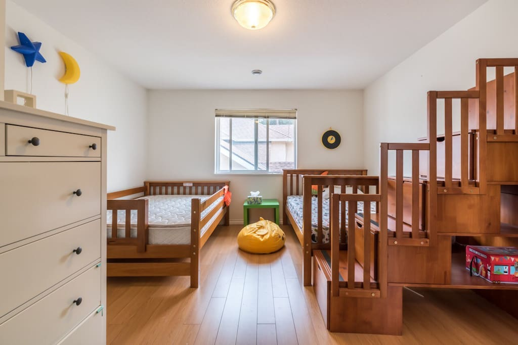 One bedroom with two double beds