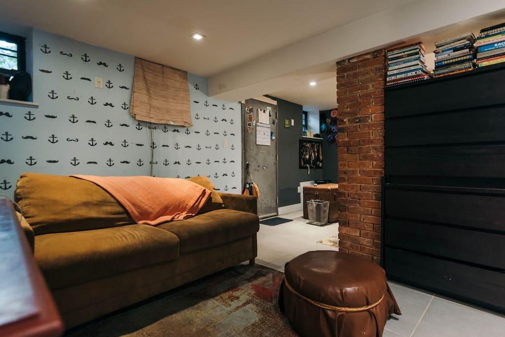 Large bedroom in a huge duplex brownstown Brooklyn apartment.