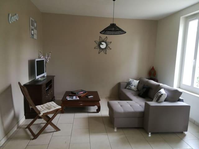 Salon comprenant TV, canapé convertible 2 places . Jeux mis à disposition dans un petit tiroir du meuble TV. Possibilité de lits d'appoint d'une à deux personnes.