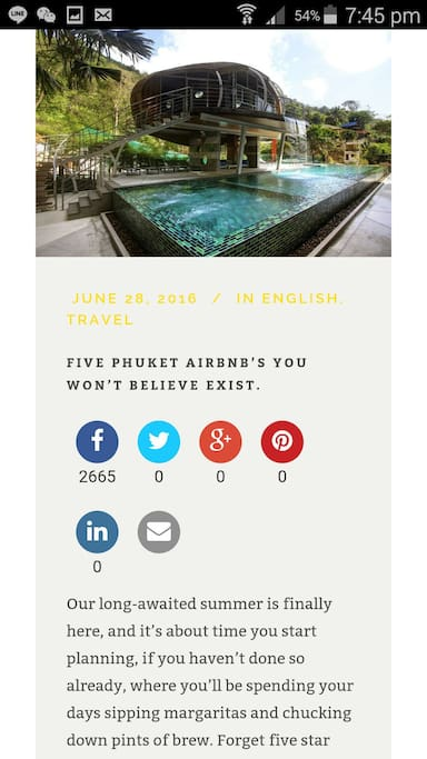 Top of FIVE PHUKET AIRBNB's YOU WONT BELEIVE EXIST, newsletter June2016 published by Airbnb