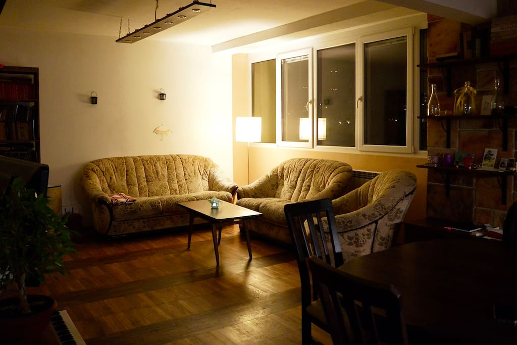 Living room at night.