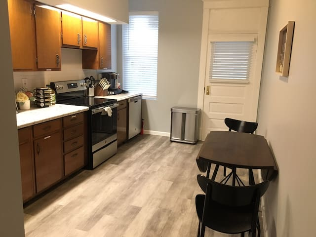 Fully equipped kitchen/dining room to cook meals. Also has keurig machine with complimentary coffee.