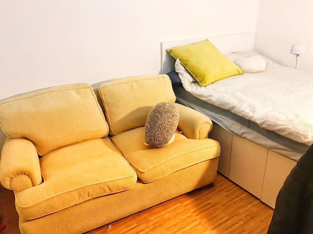 double bed room with privite sofa