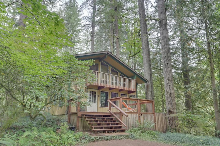 Riverfront cabin on a one-acre lot w/ trees & private river access