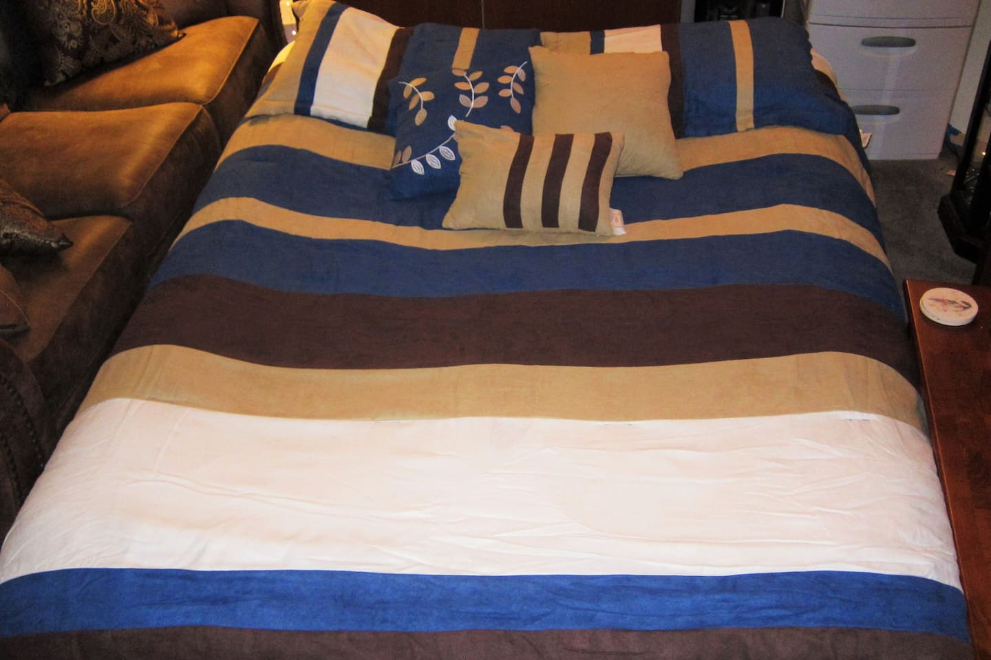 Queen air mattress with nice bedding