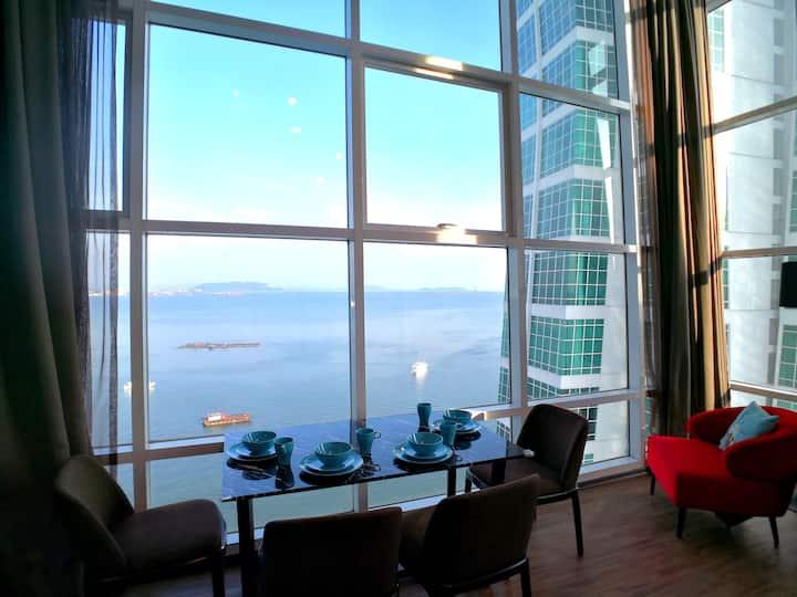 无敌海景日出海边套房 Seaview Sunrise Seafront Duplex Lv15