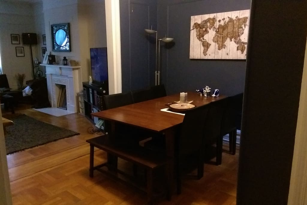 Dining room connected to living room