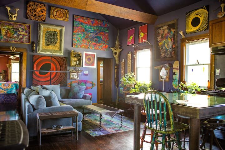 Art-filled Farmhouse on 12 Acres at Clinton Lake