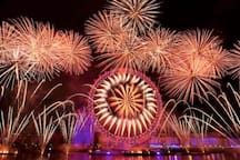 London Eye and fireworks