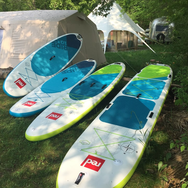 Single, tandem, and 8-person boards.