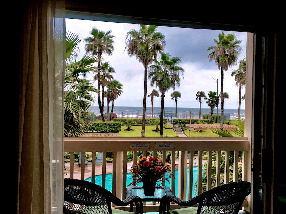 View to Gulf of Mexico and pools from Balcony