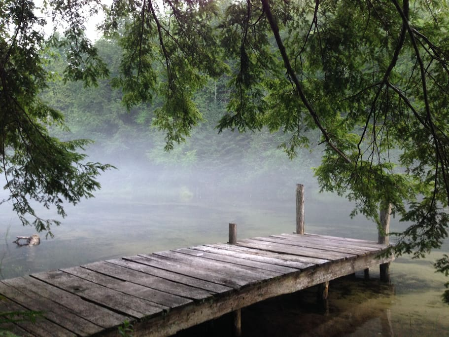 The dock on a misty morning.