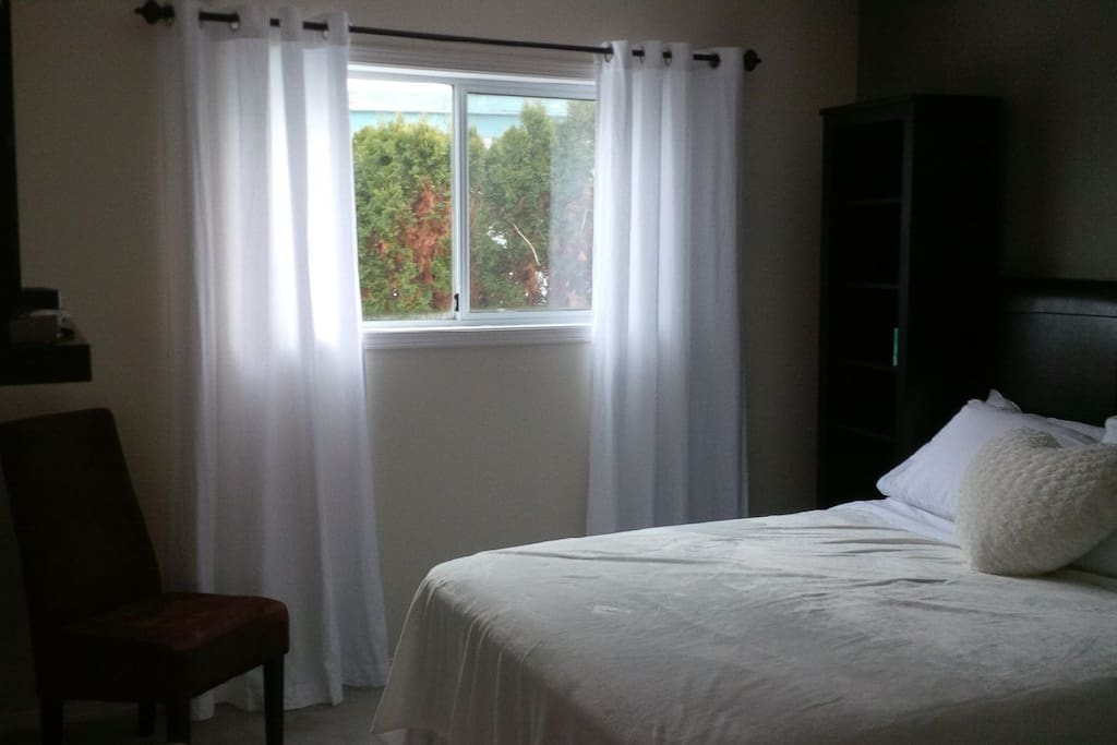 Big window with blinds and drapes.