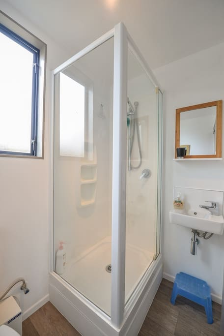 Small bathroom with shower, toilet and basin.
