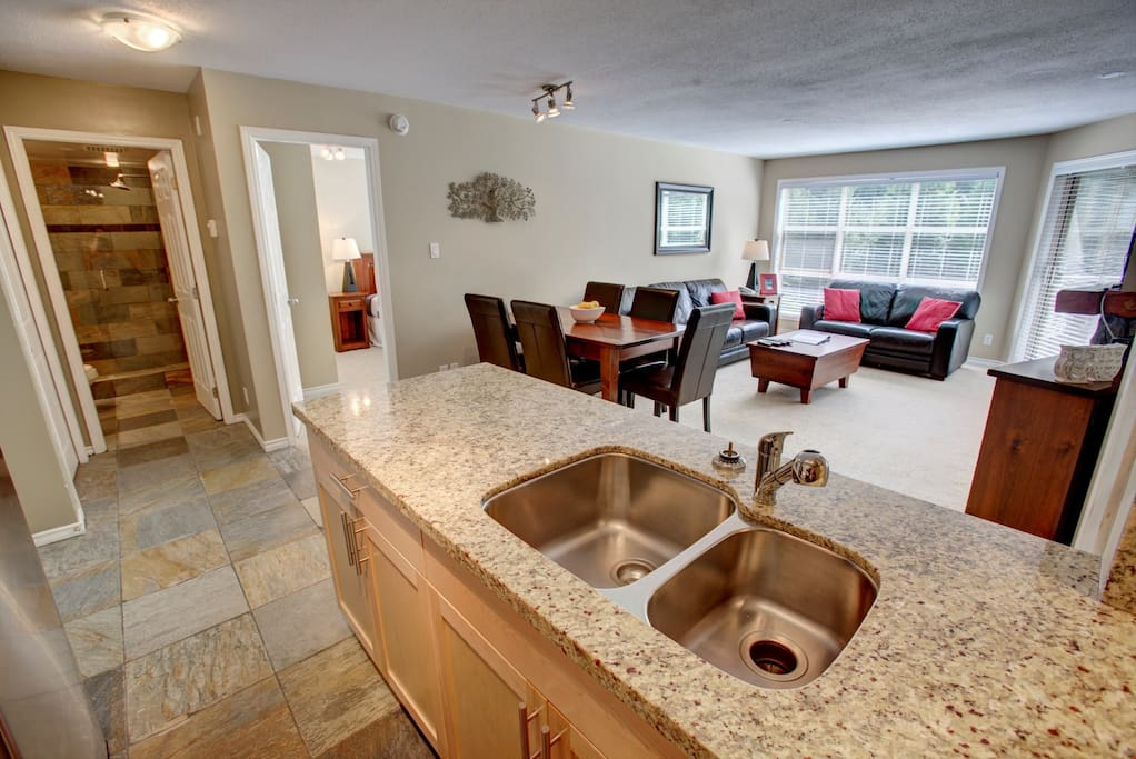 The kitchen features a beautiful marble countertop.