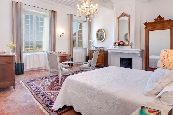 Chambre Bonnieux: King (180cm bed) with a majestic ceiling, chandlier, Persian rug and stunning views