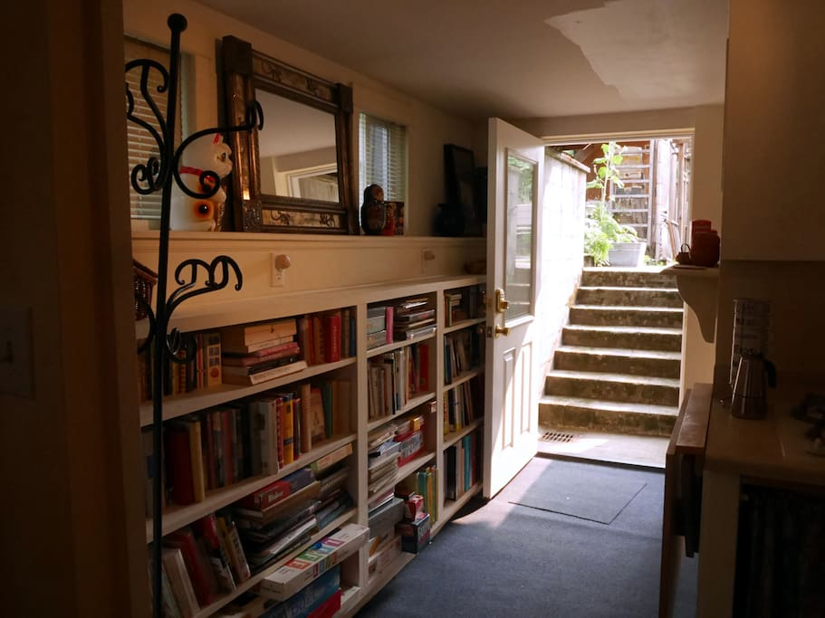 Enter our will-lit basement in-law unit from private entry in the backyard