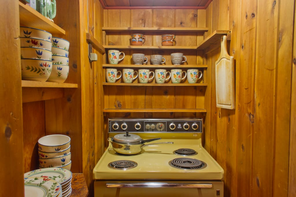Vintage kichenette with cooking area for your exclusive use if  you rent the entire suite.
