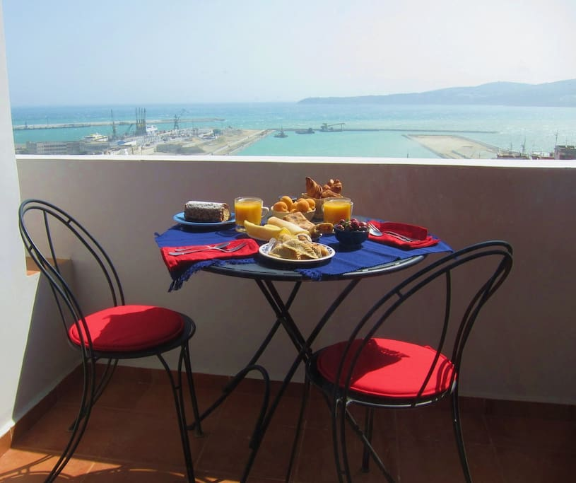Breakfast on the terrace. Or sunbathing... :) The size of the terrace is almost 6 square meters!!!