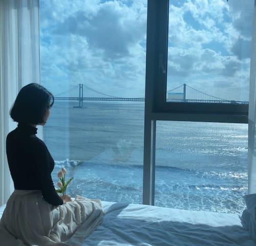 【오션뷰】 광안리, 전면광안대교뷰 #유혜주 숙소 # 배우가 자고간 집 #부산언니 나온 집