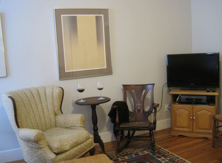 Media center in the corner of the living room.