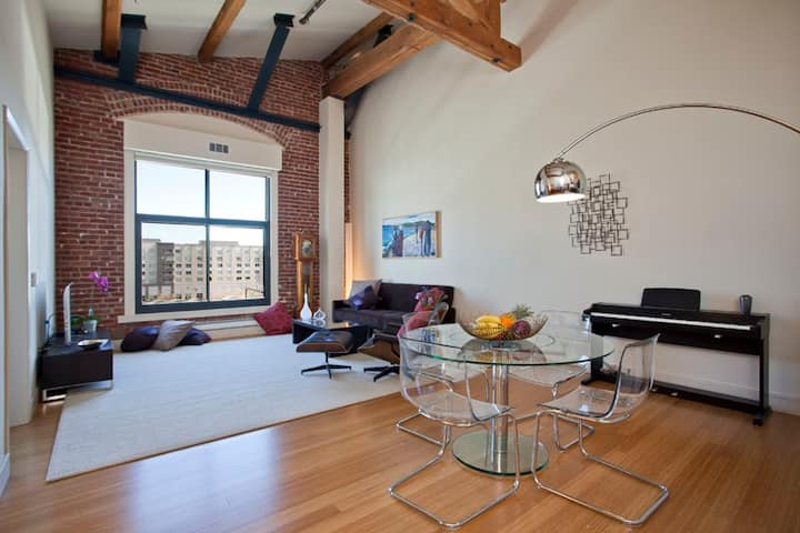 Brick-Walled Loft Near Ball Park