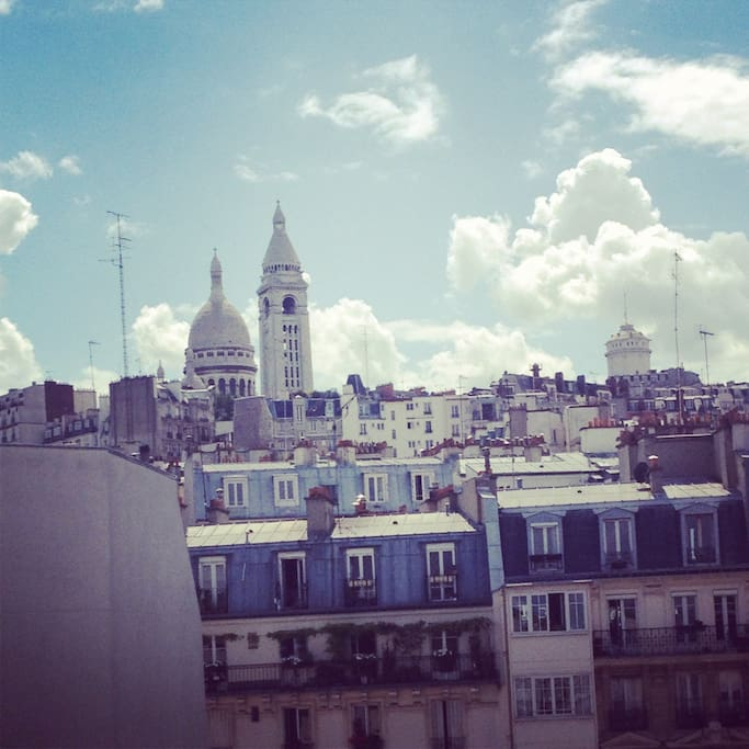 View of the Sacre Coeur church and surrounding neighborhood from the apartment.