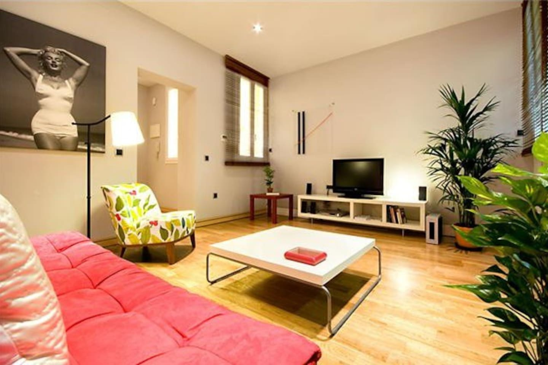 salon with wifi, tv 32', home theatre, sofa bed air conditioner..