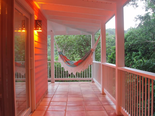 Wraparound porch with hammock