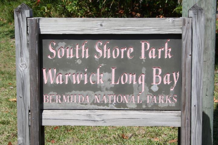 Entrance to beach across the street