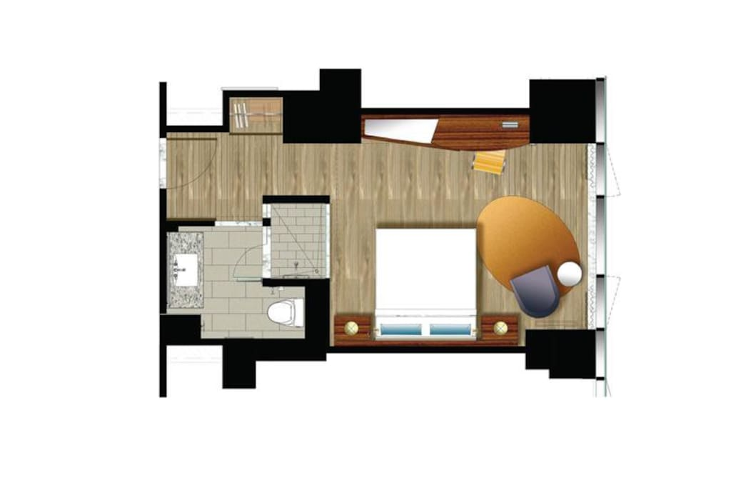 Floor plan with very nice appointments.