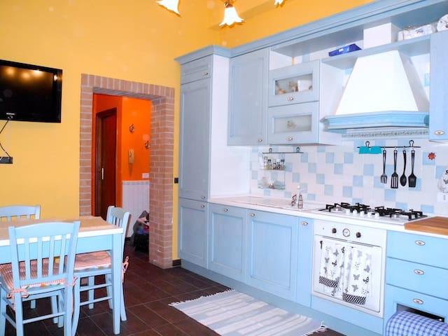 Completely renovated kitchen with gas stove, large fridge, freezer, dishwasher