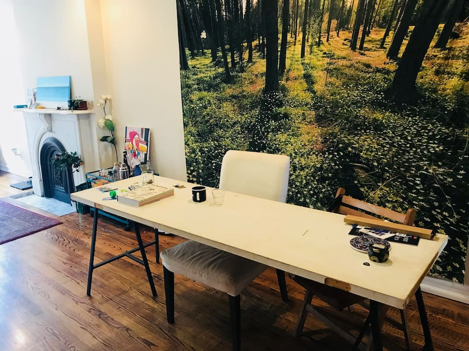 indoor forest! long table for eating/working