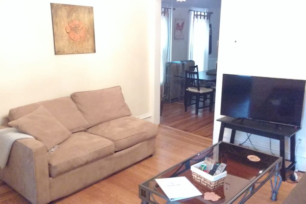 Gorgeous living area with chaise lounger, pull out sofa bed, wifi, cable TV, and dvds