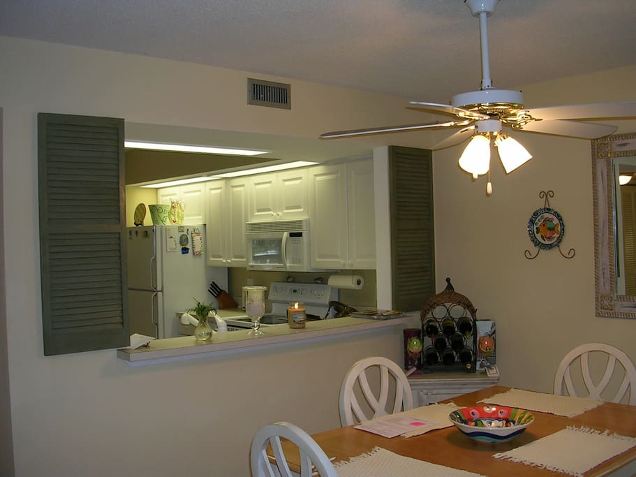 Dining area looking into kitchen