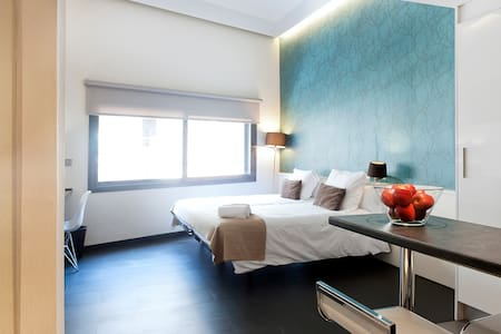 Brand new aparthotel building with fully equipped studios. Spacious room with 2 beds,TV, free internet WI-FI.  Bar with 2 stools. Small kitchen space with a fridge, microwave, coffee machine and kettle. Central location