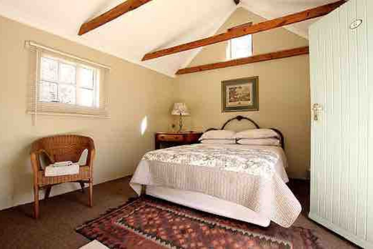 """""""MERCY"""" Sunlight streams through the tiny barn window as a reminder of His new mercies every morning.  The double bachelor room with open plan shower/toilet/basin is suitable for 2 people sharing. A sharing courtyard kitchen serves the 4 rooms."""