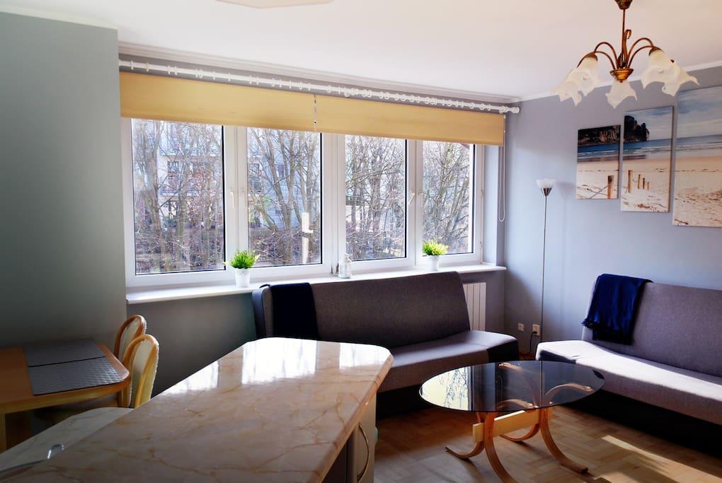 Mieszkanie jest słoneczne, na zdjęciu wypoczynek/wersalki.