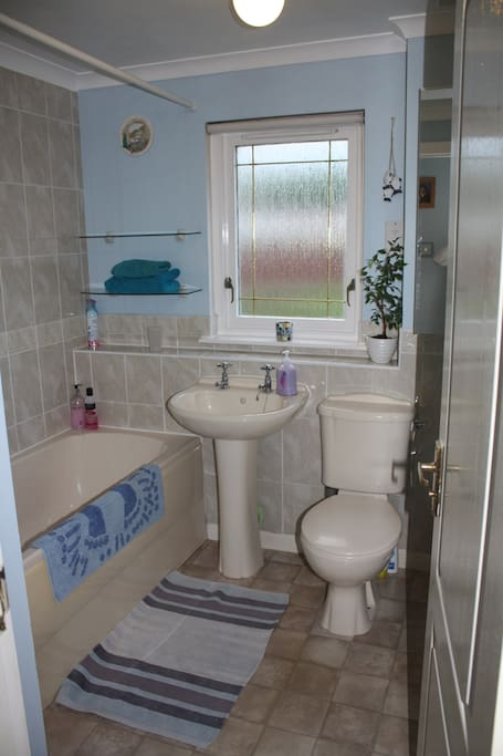 bathroom for the twin room -there is a shower over the bath, shaving point, large radiator for drying clothes if needed